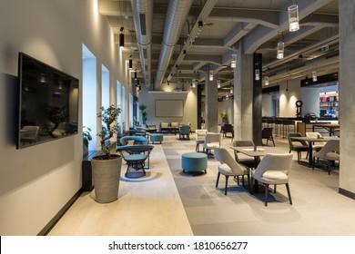 Interior of a empty modern hotel lounge cafe restaurant