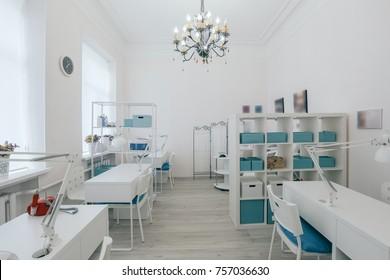 Interior of empty modern nail salon