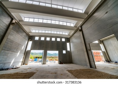 Interior of empty modern warehouse.