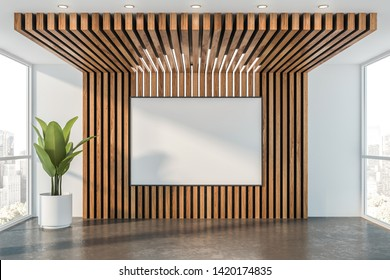 Interior of empty office hall with white and wooden walls, concrete floor, horizontal mock up poster frame and potted plant. Concept of advertising. 3d rendering