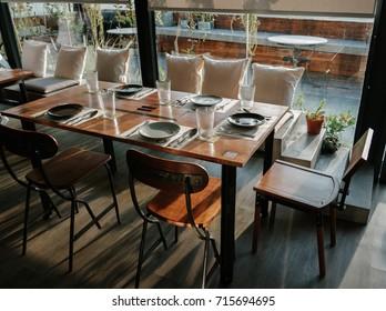Interior of an empty restaurant. modern cafe
