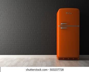 Interior of empty room with fridge 3D rendering