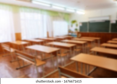 Interior of an empty school classroom. Concept of coronavirus COVID-19 quarantine in schools and educational institutions