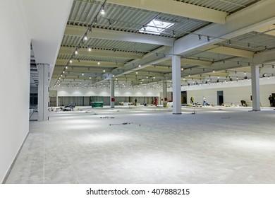 "Interior of empty unfinished modern mega market. Architecture concept. Shopping center ""AVIV PARK"" in Zrenjanin, Vojvodina, Serbia, 11.09.2015."
