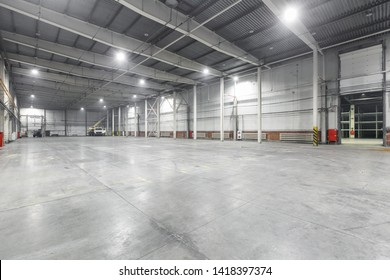 Interior of empty warehouse garage