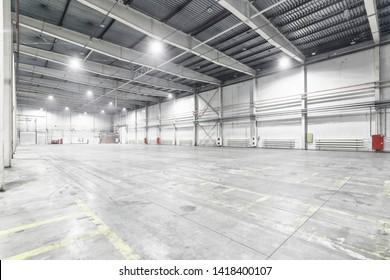 Interior of empty warehouse garage