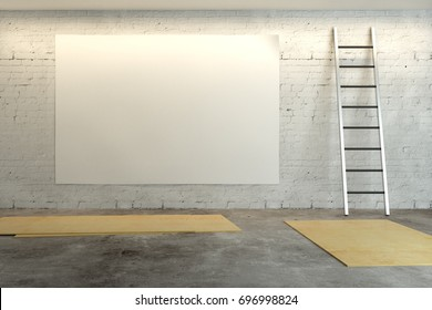 Interior with empty white poster on brick wall, step ladder, and carton on concrete floor. Repairs concept. Mock up, 3D Rendering