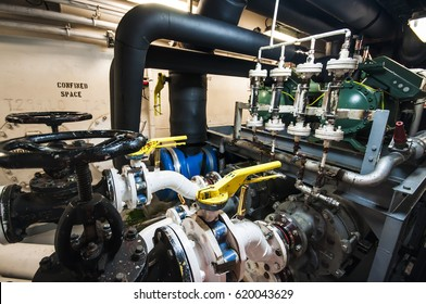Interior of engine spaces on modern advanced technology vessel - dynamic positioning ship