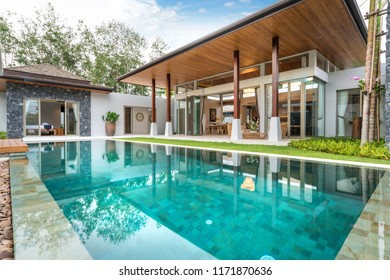 Interior and exterior design of pool villa with swimming pool , home, house , building , hotel, resort, living room