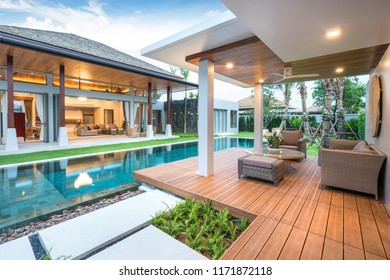 Interior and exterior design of pool villa with swimming pool ,home,house night home, house ,building