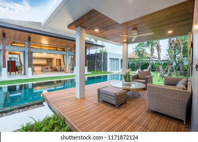 Interior and exterior design of pool villa with swimming pool  home, house, building