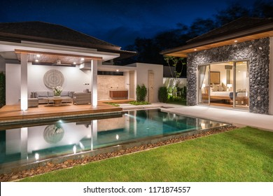 Interior and exterior design of pool villa with swimming pool ,home,house , night time  home, house, building