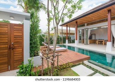 Interior and exterior design of pool villa with swimming pool in the  home, house , building , hotel , resort