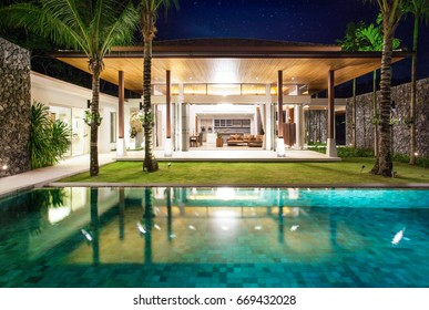 Interior and exterior  design  of pool villa with living room home, house , building , hotel