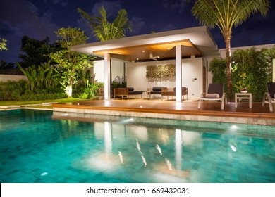 Interior and exterior design   of pool villa with pavilion home, house , building , hotel, resort