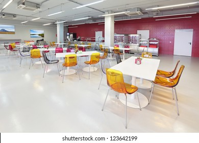 The interior of the factory canteen, nobody
