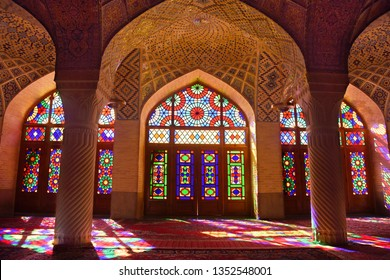 Interior of the famous rainbow Nasir-ol-Molk mosque ( also called the Pink Mosque). Iran. Shiraz. September 29, 2016.