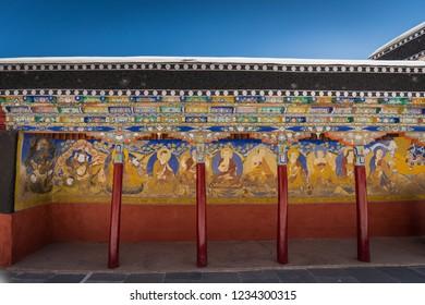 Interior of famous Tibetan Buddhist Monastery, Thiksey Monastery in Leh-Ladakh, India