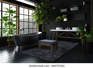 Interior of fancy bathroom in black color, with shiny metal freestanding bath near wide window, with lots of green indoor plants. 3d Rendering.