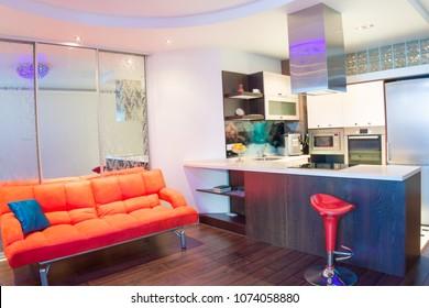 interior of a fashion modern kitchen-diner