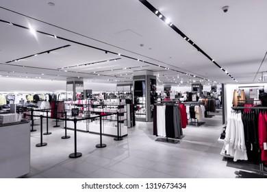 Interior of fashion store. Shopping mall on Bali island.