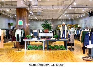 interior of fashion store in shopping mall