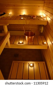 Interior of a Finnish sauna in candle light