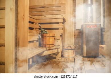 Interior of Finnish sauna, classic wooden sauna, Finnish bathroom, Relax in hot sauna with steam