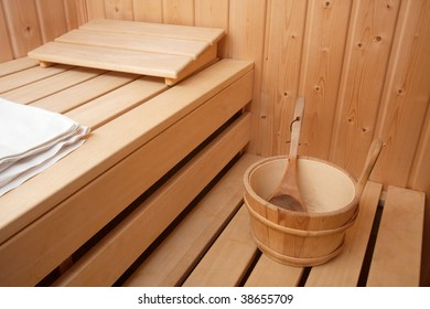 Interior of a finnish wooden sauna