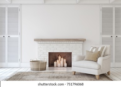 Interior with fireplace in farmhouse style. Interior mock-up. 3d render.