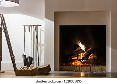 Interior with fireplace and floor lamp