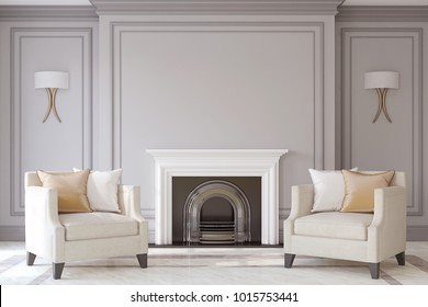 Interior with fireplace in neoclassic style. Interior mock-up. 3d render.