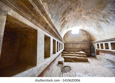 Interior of the Forum Baths of Pompeii in Southern Italy