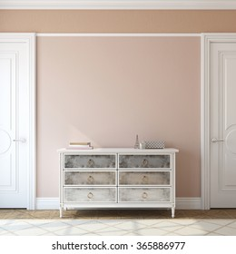 Interior of foyer with dresser near empty pink wall. 3d render.