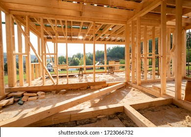 Interior frame of new wooden house under construction