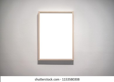 interior of gallery with blank frame