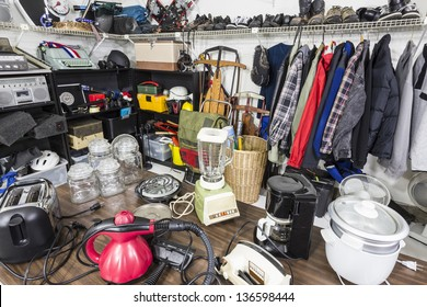 Interior garage sale, housewares, clothing, sporting goods and toys.