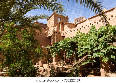 The interior garden of Kasbah Amridil in Skoura oasis, Morocco