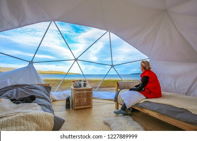 The interior of a glamorous camp in the north of Russia on the shores of the Arctic Ocean