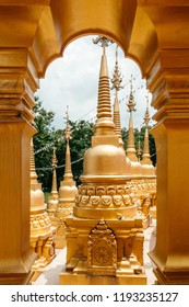 Interior and golden arch gates entrance of Thai pagodas of Wat Pasawangboon in KhaengKhoi, Saraburi, Thailand