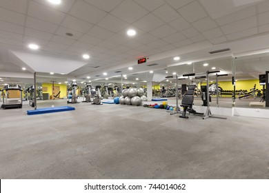 Interior of a gym with equipment