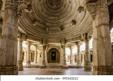 Interior hall of famous Jain temple (Adinatha temple) in Ranakpur, Rajasthan, India - monochrome