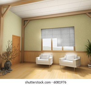 Interior of a hall in hotel  3d image