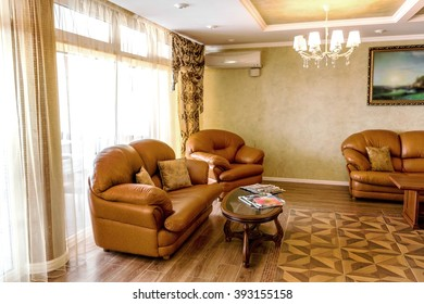 The interior of the hall and hotel rooms. Hotel Recreation Area. Garden restaurant and private dining room of a small hotel in the resort area