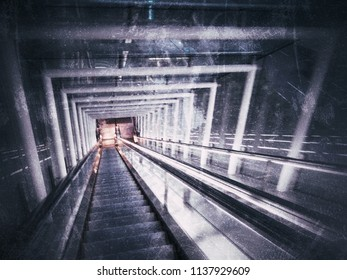 Interior of the hallway of office building's escalator, feeling like going down motion, horror/thriller concept
