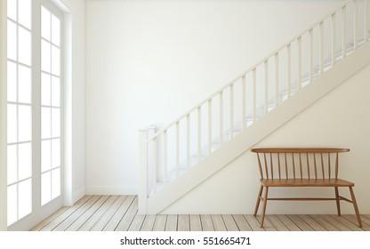 Interior of hallway with wood stairway. Wall mockup. 3d render.