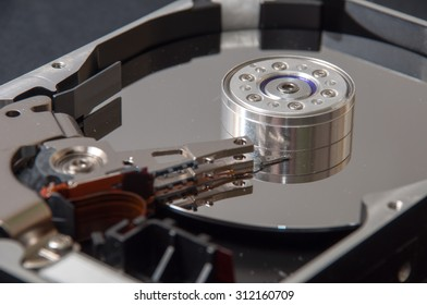 The interior of the hard disk on a black background.