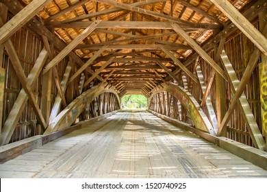 Interior of the Hemlock Covered Bridge in Fryeburg Maine it Spans the Saco River