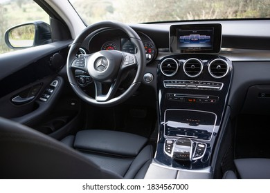 """Interior of a hi tech and luxury Mercedes car, Athens, Greece - October 13 of 2020. """""""