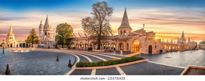 Interior high resolution panoramic view of the old fishermen bastion in budapest,hungary in the morning.